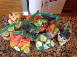 Each baggie is what I get for the day, one veggie bag, one fruit bag!